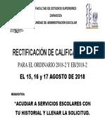 Aviso Rectificacion de Calificaciones 2018-1