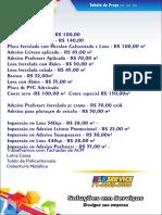 Tabela de Preço BLK Terceirizado