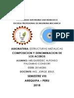 Composicion y Denominacion de Los Aceros Astm, Aisi,Asme, Ntc
