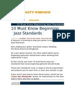 10 Must Know Beginning Jazz Standards
