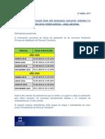 Cronograma Fechas de Publicación Proceso de Habilitación 2018 - 2019