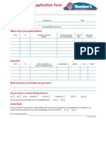 Dominos Employment Form