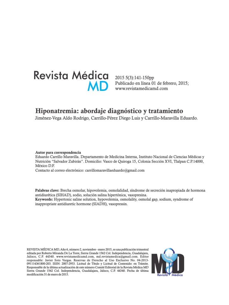 Sindrome De Secrecion Inapropiada De Hormona Antidiuretica Pdf