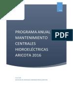 Programa Anual de Mantenimiento 2016 CC.hh. Aricota