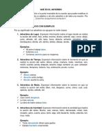 Adverbio y Clases de Adnerbio