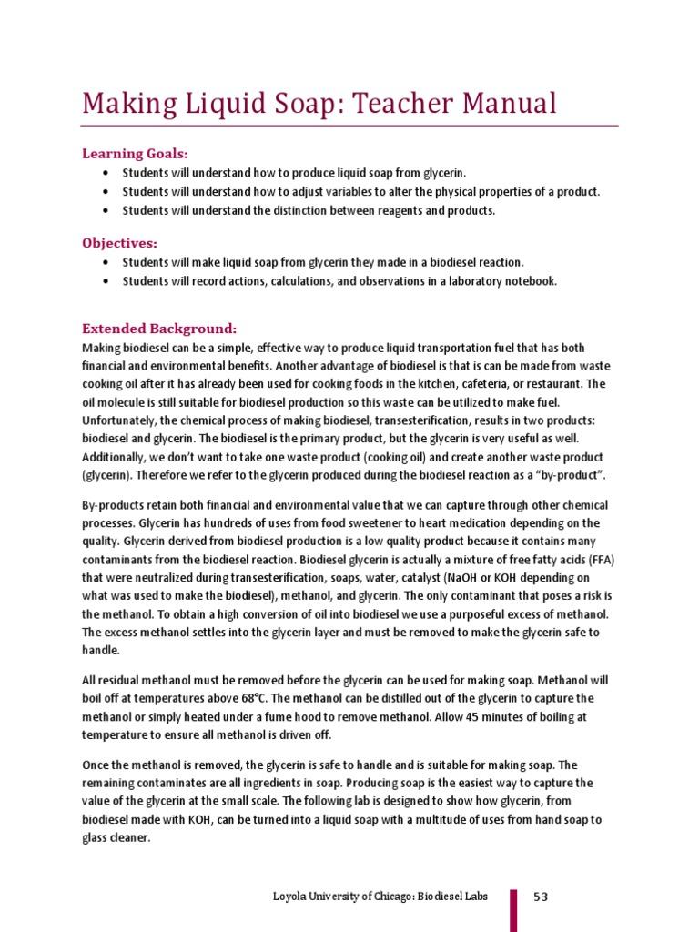 Biodiesel Curricula - Make Soap | Biodiesel | Glycerol