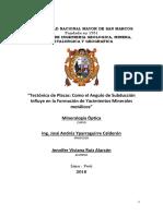 """""""Tectónica de Placas, Como El Angulo de Subducción Influye en La Formación de Yacimientos Minerales Metálicos"""""""