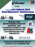 Roles and Responsibilities of School Als Coordinators In