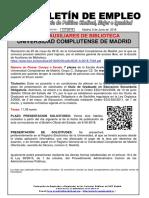 137 -18 Boletin Informativo Empleo Publico Escala Auxiliares de Biblioteca Universidad Complutense de Madrid 6-06-2018
