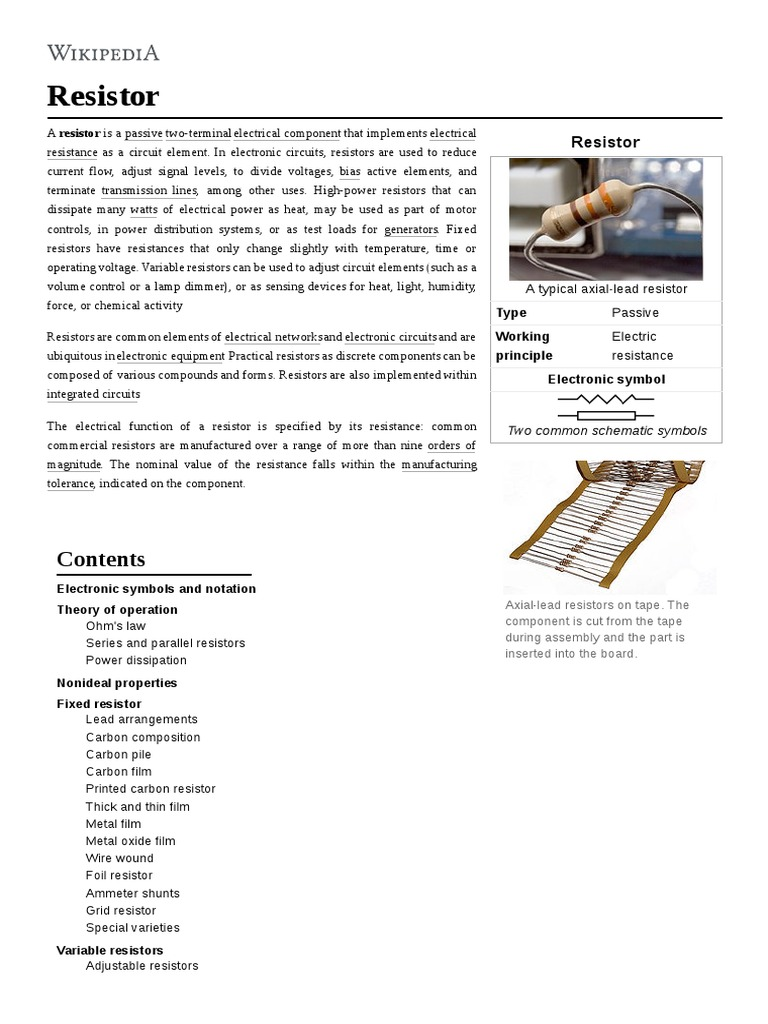 Resistor Electrical Resistance And Conductance Circuit Symbols Integrated Components