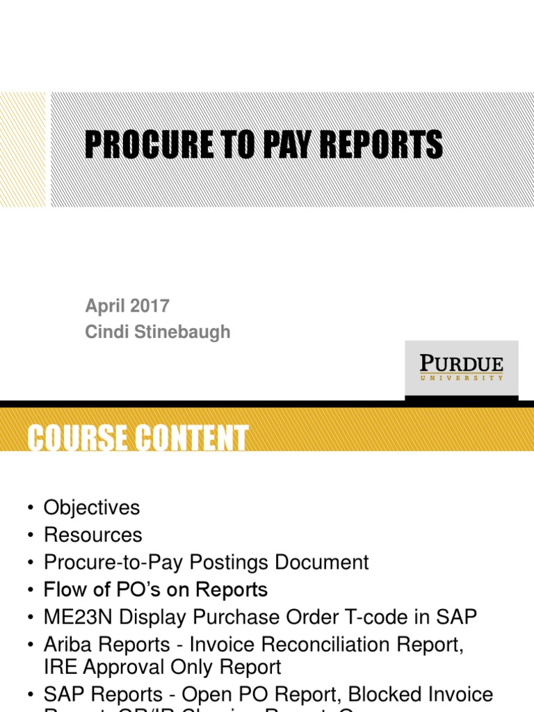 Procure to Pay Reports | Receipt | Invoice