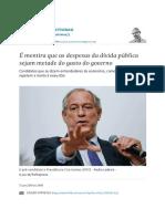 É Mentira Que as Despesas Da Dívida Pública Sejam Metade Do Gasto Do Governo - 13-06-2018 - Alexandre Schwartsman - Folha