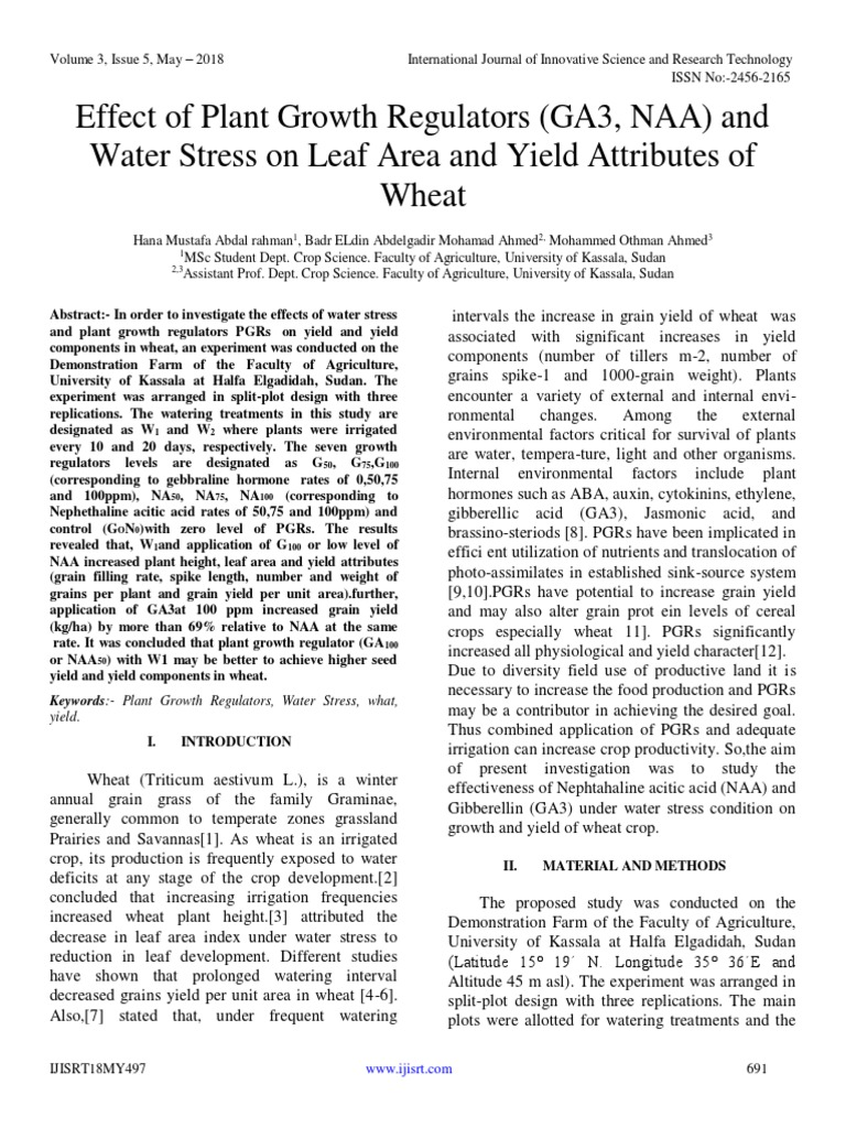Effect of Plant Growth Regulators GA3 NAA and Water Stress
