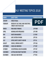 Hsse Monthly Meeting Topics 2018