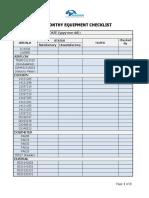 Monthly Equipment Checklist