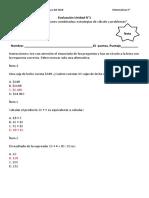 5° Evaluación Unidad N 1 mat