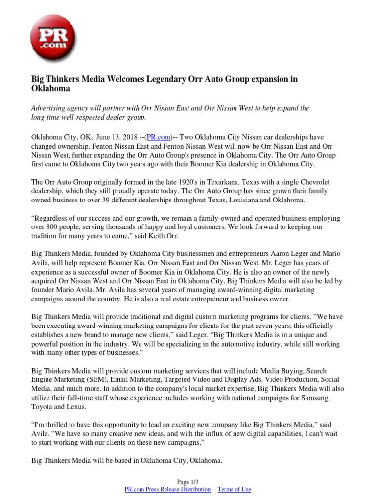 Fenton Nissan East >> Big Thinkers Media Welcomes Legendary Orr Auto Group
