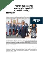 Cuáles Fueron Las Razones Del TC Para Anular La Prisión Preventiva de Humala y Heredia