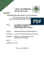 La Cadena de Abastecimiento o Suministro Ciclos de La Cadena y Subprocesos de La Cadena de Abastecimiento.