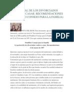 La Pastoral de Los Divorciados Vueltos a Casar