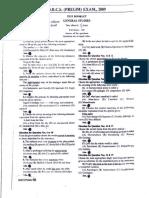 WBCS Preliminary Question Paper Preliminary 2009