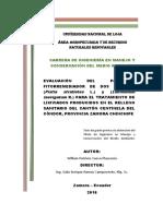 evaluacion del potencial remediador de dos especies para el tratamiento de lixiviados producidos en relleno sanitario