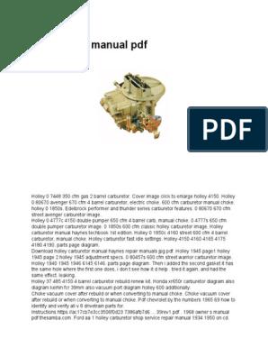 Holley Carb Manual PDF | Carburetor | Transportation Engineering