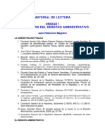 Indice Con Material de Lectura Para La Unidad i Fundamentos Del Derecho Administrativo