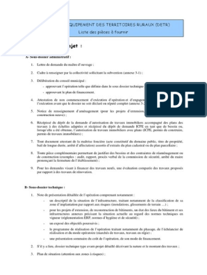 Annexe 3 3 Liste Des Pieces A Fournir Detr Pdf Sécurité