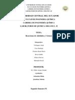 Práctica 5 - Reacciones de Aldehidos y Cetonas
