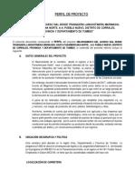 Perfil Proyecto Carretera Tumbes