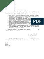 Affidavit of Loss Certificate of Title