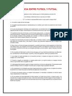 Diferencia Entre Futbol y Futsal