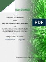 Matemáticas Necesarias para el análisis de sistemas de control