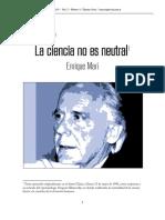 La Ciencia No Es Neutral Enrique Mari