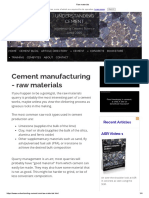 Raw Materials - Cement Manufacturing