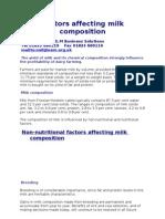 Factors Affecting Milk Composition