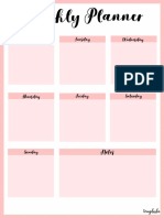 Weekly Planner - Pink Color Portrait
