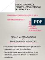 Problemas Pedagogicos y de aprendizaje en el aula