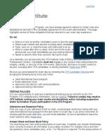 CFA Institute Test Instructions
