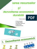 Gestionarea Resurselor, Dezvoltarea Economica Durabila