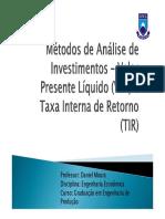Analise de Investimento VPL e TIR