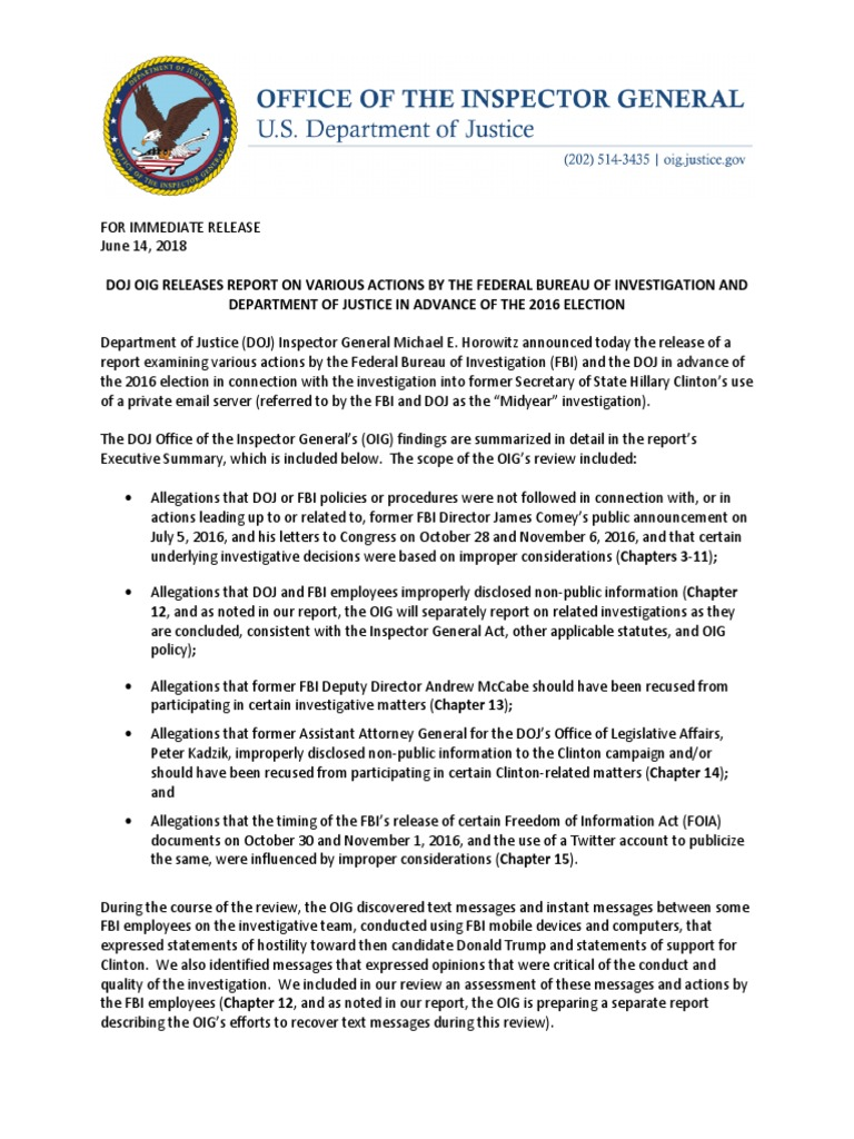 2018 06 14 Oig Report Press Release   Hillary Clinton Email