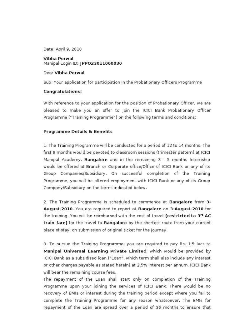 Invitation Letter - Probationary Officer1 | Loans | Deposit Account