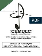Folder CEMULC - 2° Semestre 2018 - Paróquias