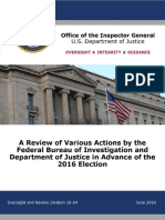 Inspector General's report on the FBI in the 2016 election