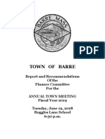 Barre Annual Town Meeting Booklet 06-19-2018