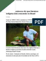 (Web) EBC. Escritor Mundurucu Diz Que Literatura Indígena Está Crescendo No Brasil