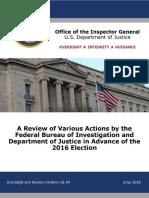 US DoJ Inspector General report into FBI, Clinton and 2016 election