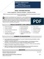 resume 2018 teaching position edmonton